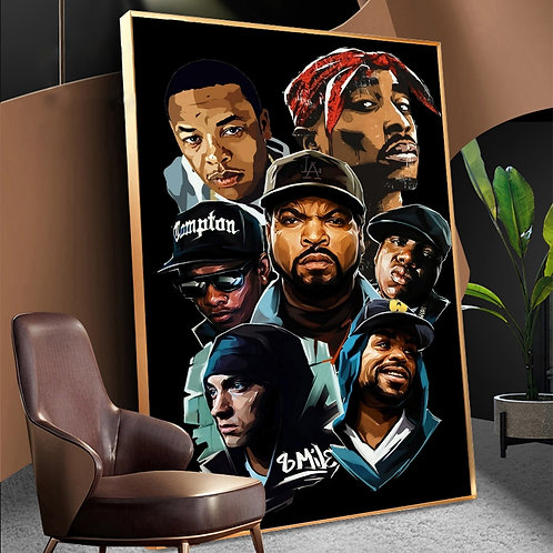 East Coast/ West Coast Music Star Rappers Wall Poster