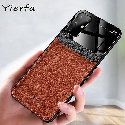 Galaxy S20 S21 Ultra Case PU Leather Plexiglass Shockproof Bumper Phone