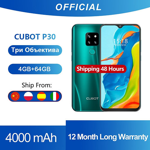 "Cubot P30 Smartphone 6.3"" Waterdrop Screen 2340x1080p 4GB+64GB Android 9.0"