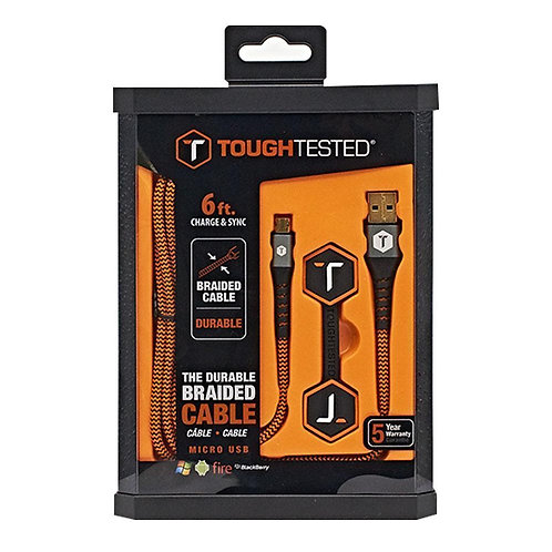 Tough Tested 6 Ft. Braided MicroUSB Cable
