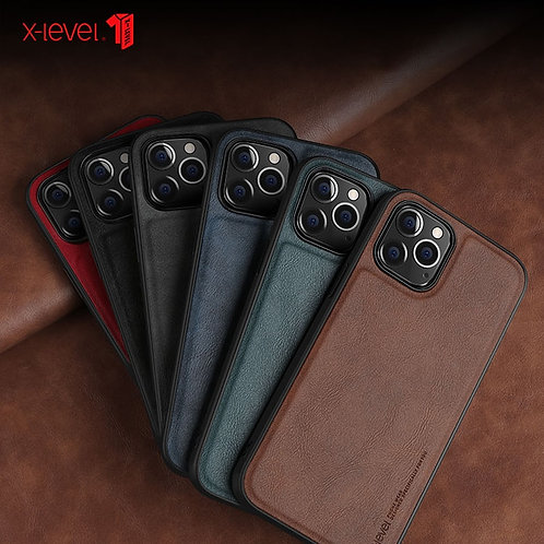 "For iPhone 12 Pro Case 6.1"" X-Level Retro Leather Soft Silicone Edge Back Cover"