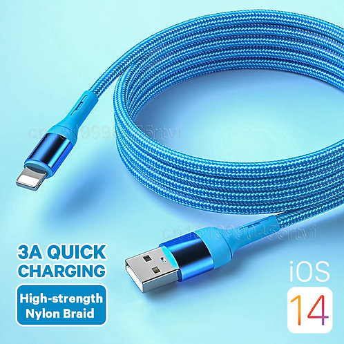 Quick Charge USB Cable for iOS Phone Charger Cord Data Charger Wire 1/1.5/2m