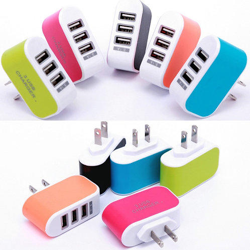 EU/US Plug Wall Charger  3 Port USB Charge Charger Travel AC Power Chargers