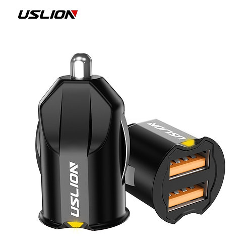 USLION Mini 2 Port USB Car Charger AdapterQC3.0 Fast Charging USB Charger
