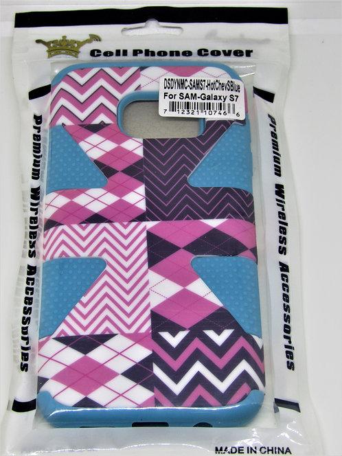 Hot Pink Chevron Sky Blue Wallet Case