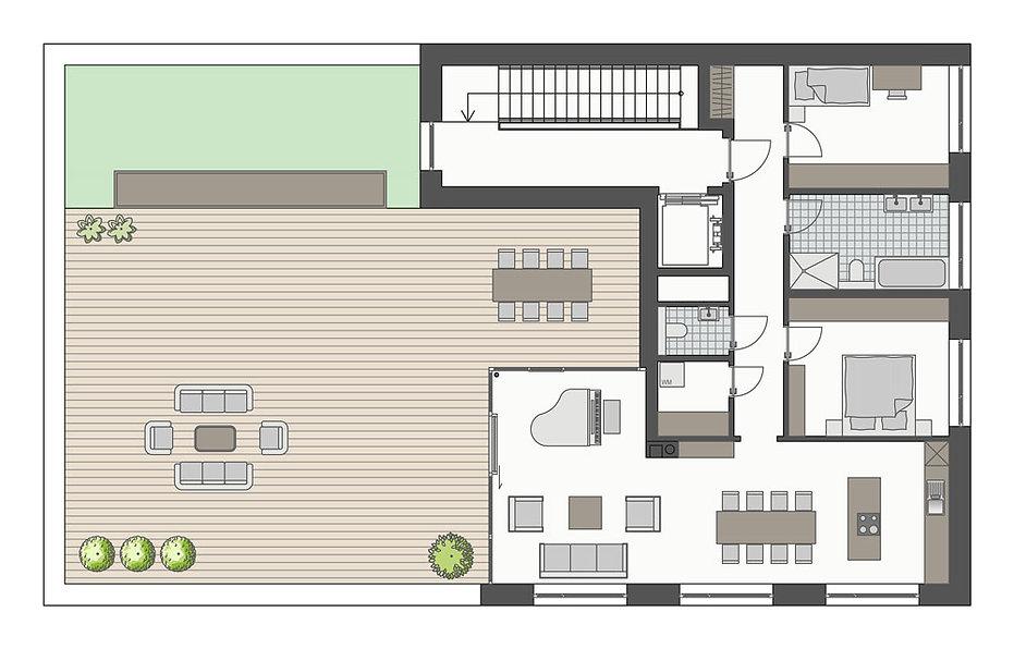 Grundriss der Penthouse-Wohnung
