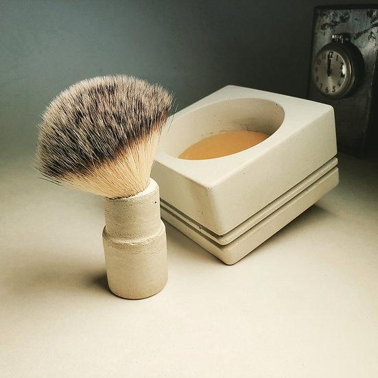 blaireau, bol béton, végane, achat local, fabriqué à Montréal, fait main, rasage, bol à raser, bol à mousser, béton, canadien