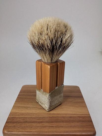 real hair badger brush, blaireau authentique, concrete, béton, cedar, cèdre, waterproof, imperméable, crème à raser, groom