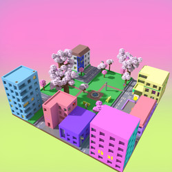 Voxel town by Nyokee