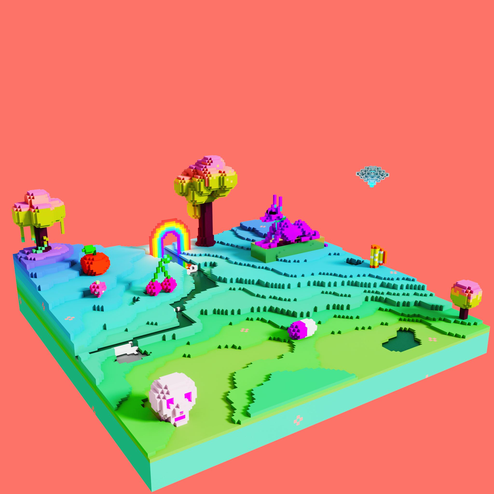 Crazy fruit voxel landscape