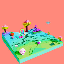 Crazy fruit voxel landscape