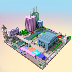 London Voxel art by Nyokee