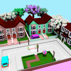 Street voxel art by Nyokee