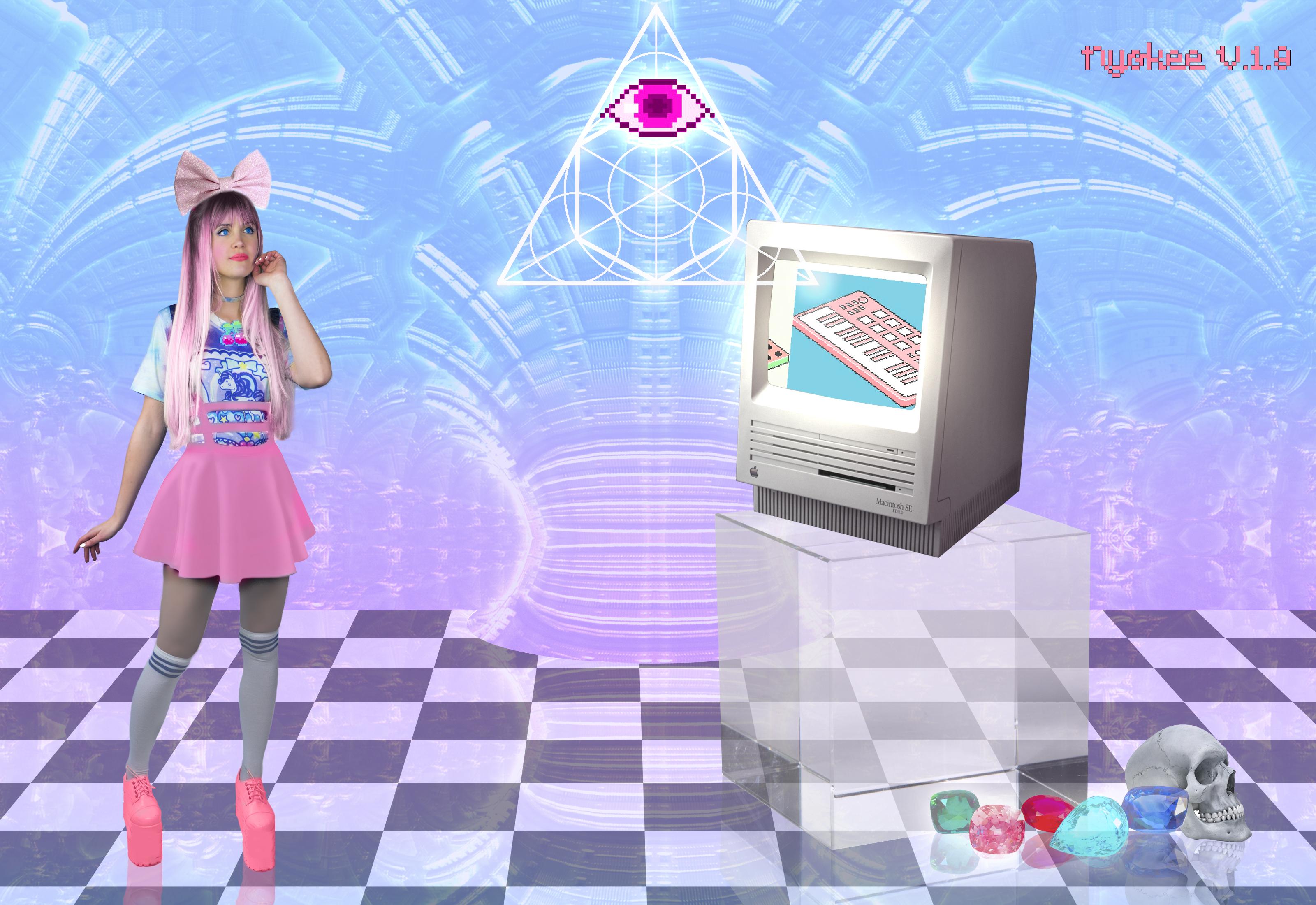 Psychedelic Barbie retro computer
