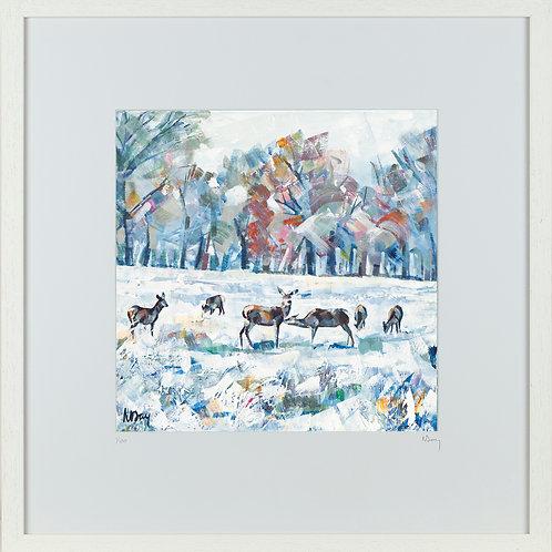 'Deer in Snow IV' 50x50cm