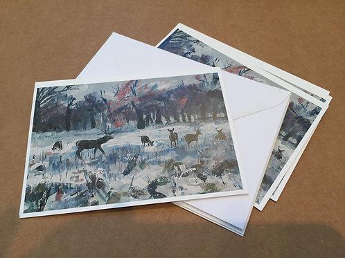 4 cards 'Deer in Snow'