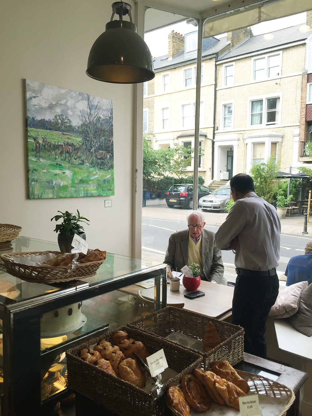 Paintings are now hanging in the richmodn Hill bakery awaiting the Provate View on Thusrday evening. Please contact me to be added to the guerst list.