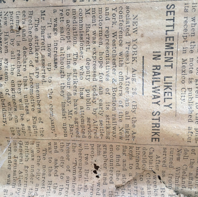 100 year old newspaper from shelton barn
