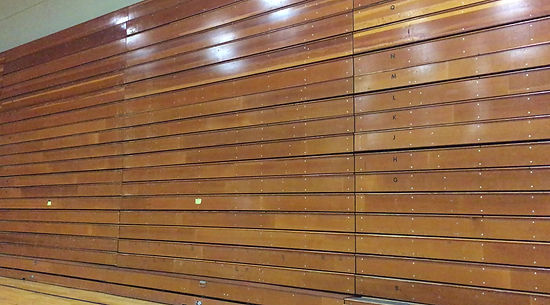 see the vintage bleachers open for the very last time at Trinity College's Ferris Athletic Center