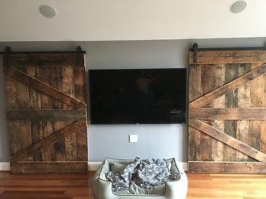 Slidiong barn doors made from reclaimed barn Wood