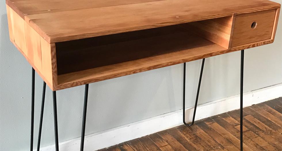 bleacher wood desk with pin legs