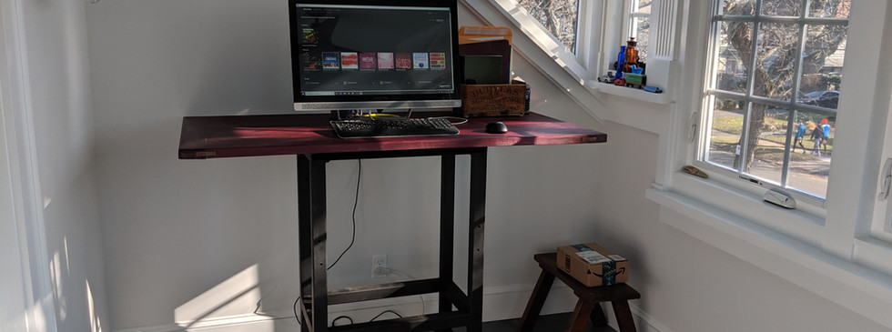 standing desk with reclaimed wood