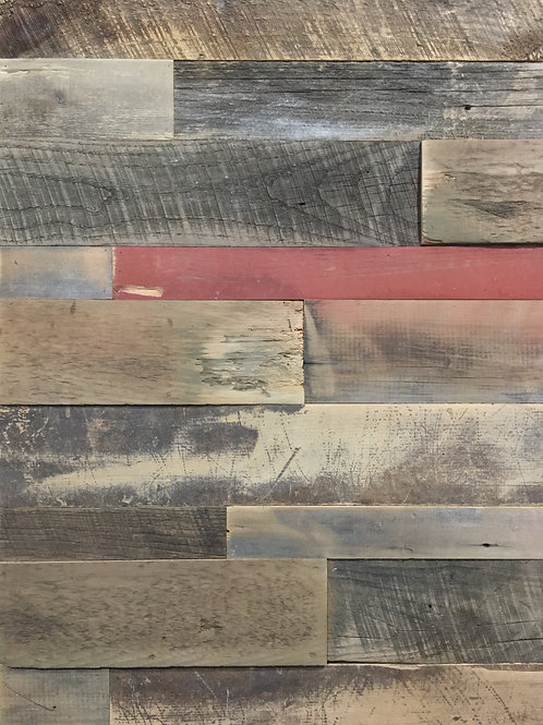 Reclaimed Wood - Browns w/pop of Red Authentic BARN WOOD plank wall board
