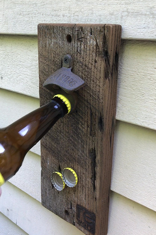 Reclaimed Wood Wall Mount Bottle Opener