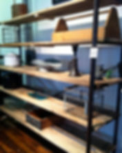 shelving made from reclaimed barn wood for home or business