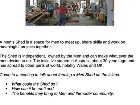 Interested in a Men Shed for St Catherine's, Tenby?
