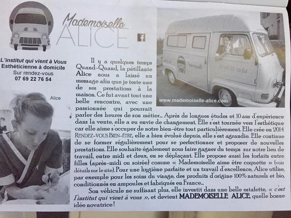 Article de Mademoiselle Alice dans Le Quand-Quand de juillet 2017