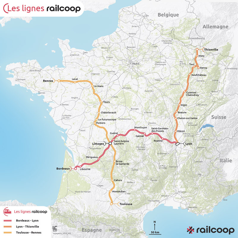 carte de france : Les projets voyageurs de Railcoop.