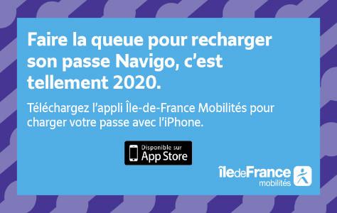 Annonce application Île-de-France Mobilités sur iPhone