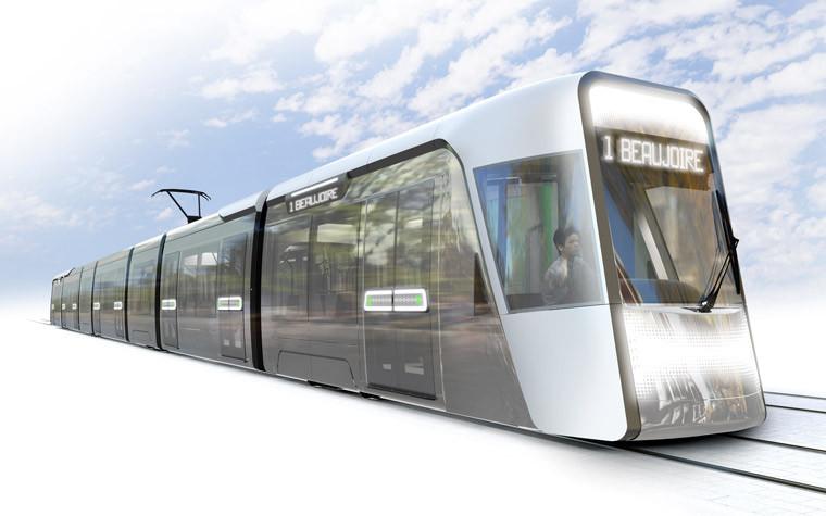 Un tramway « presqu'immatériel » aux flancs vitrés pour favoriser la vision sur la ville. (Photo de synthèse RCP)