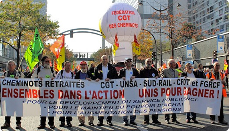La manifestation du 23 octobre 2012 à Paris contre la réforme des retraites des cheminots.