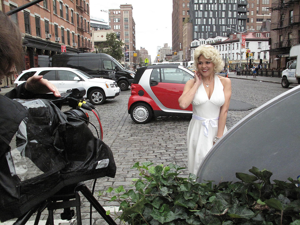 Leslie Hughes as Marilyn Monroe.  A crowd stopped to watch as we recorded this segment.