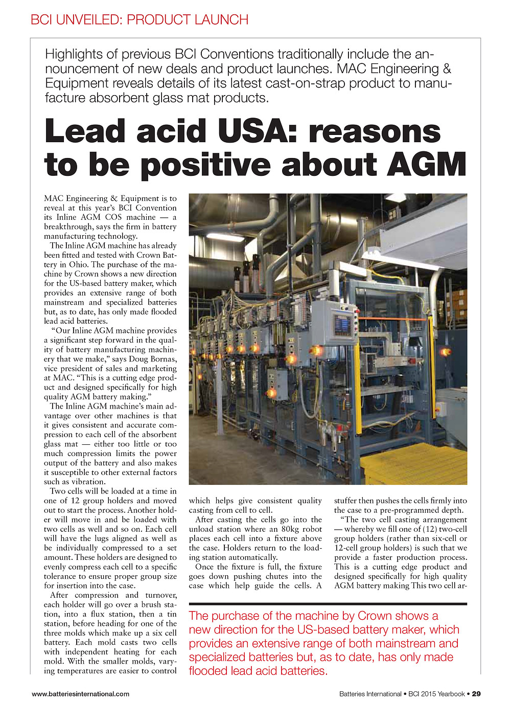 MAC Engineering & Equipment reveals details of its latest cast-on-strap product to manufacture absorbent glass mat products.