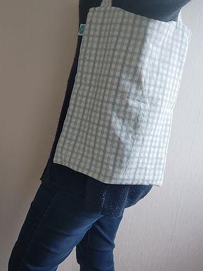 Totebag bleu à carreaux