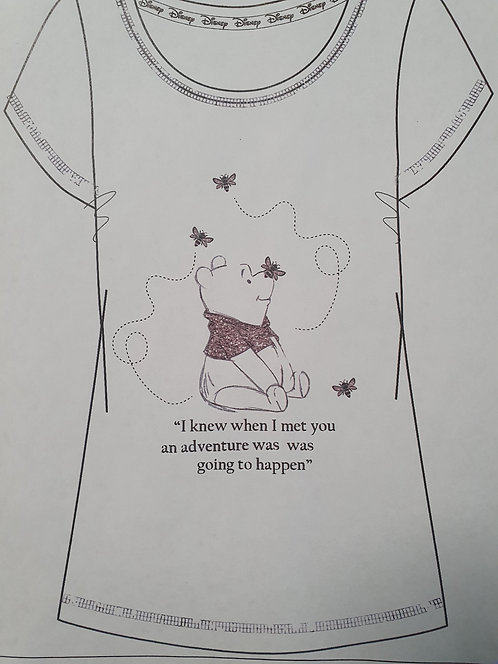 LADIES WINNIE THE POOH T-SHIRT WITH GLITTER