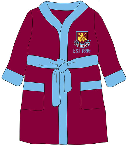 Boys West Ham Dressing Gown 3-12yrs