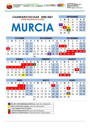 Calendario curso 2020-2021 CEIP La Cruz_