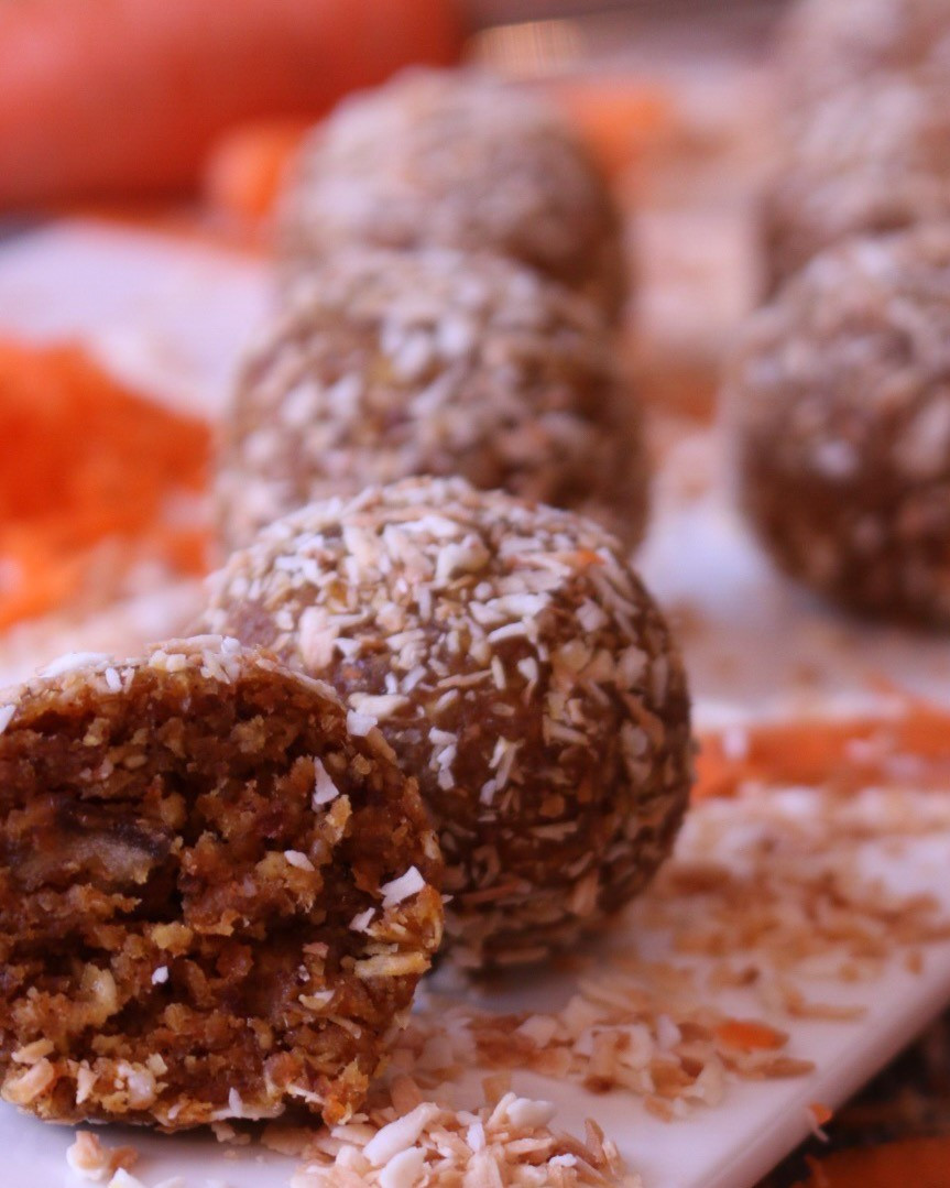 Carrot Cake Energy Balls Rolled in Toasted Coconut
