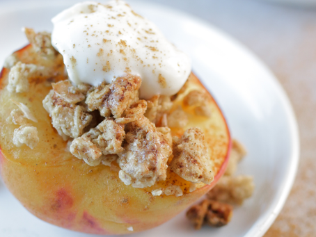 Baked Peach with Granola