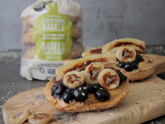 Back-to-School Breakfast Sandwich - Caramelized Banana, Blueberry Compote & Seed Butter Bagel