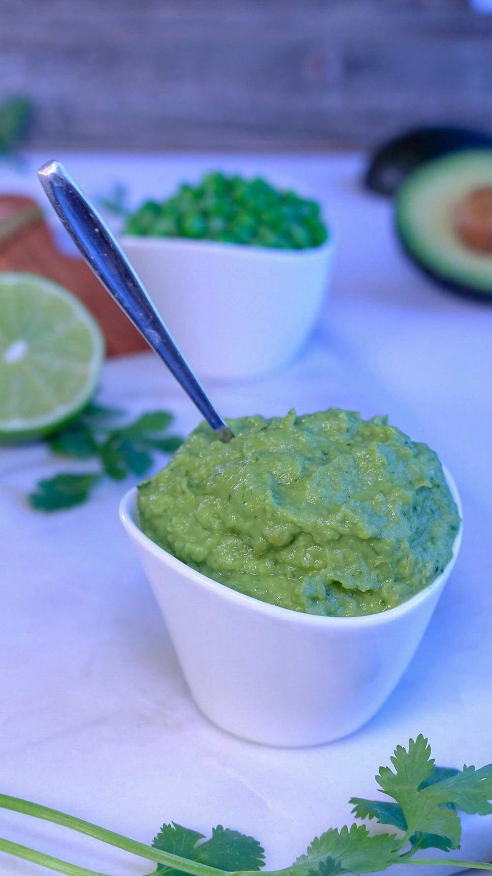 Plant-based Gluten-free Green Pea Avocado Guacamole