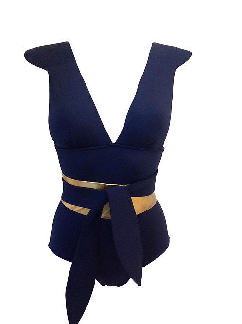 5051 Maillot de bain une pièce épaulette Bleu ORZA