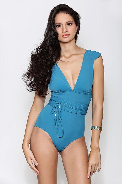 Maillot de bain une pièce épaulette Bleu ORZA