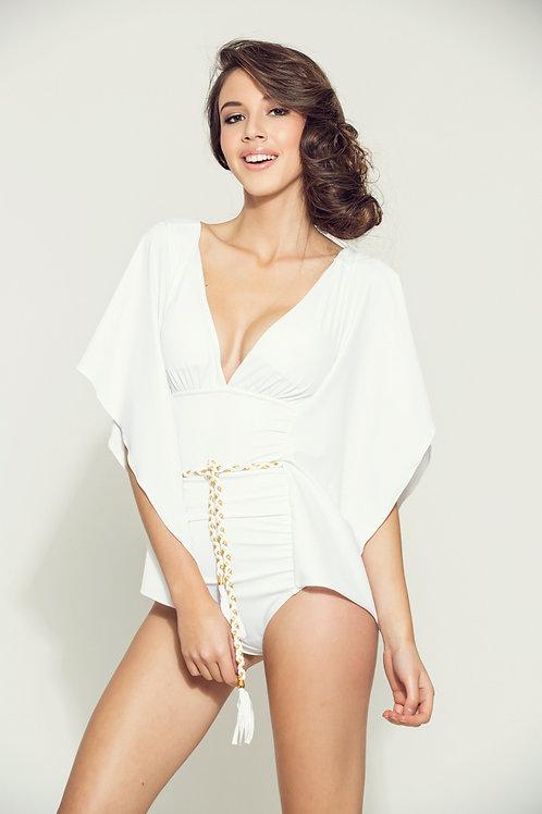 6076 Maillot de bain une pièce kimono blanc