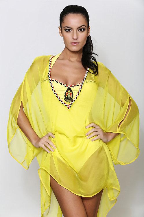 0128 Tunique jaune natte style Péruvien