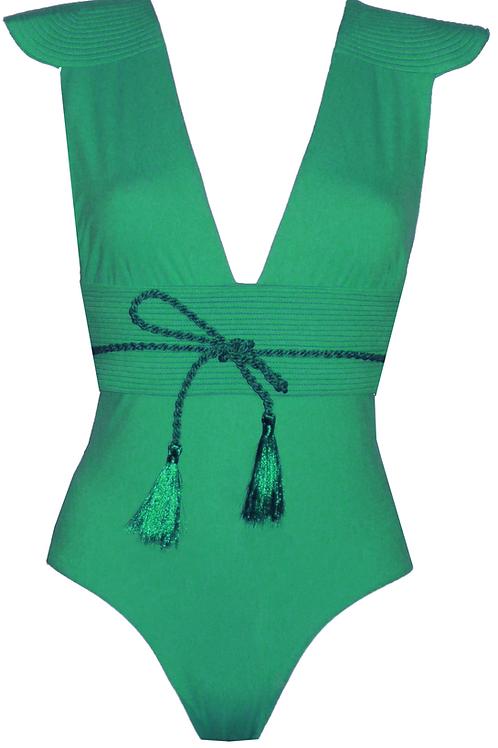 Maillot de bain une pièce épaulette Vert ORZA